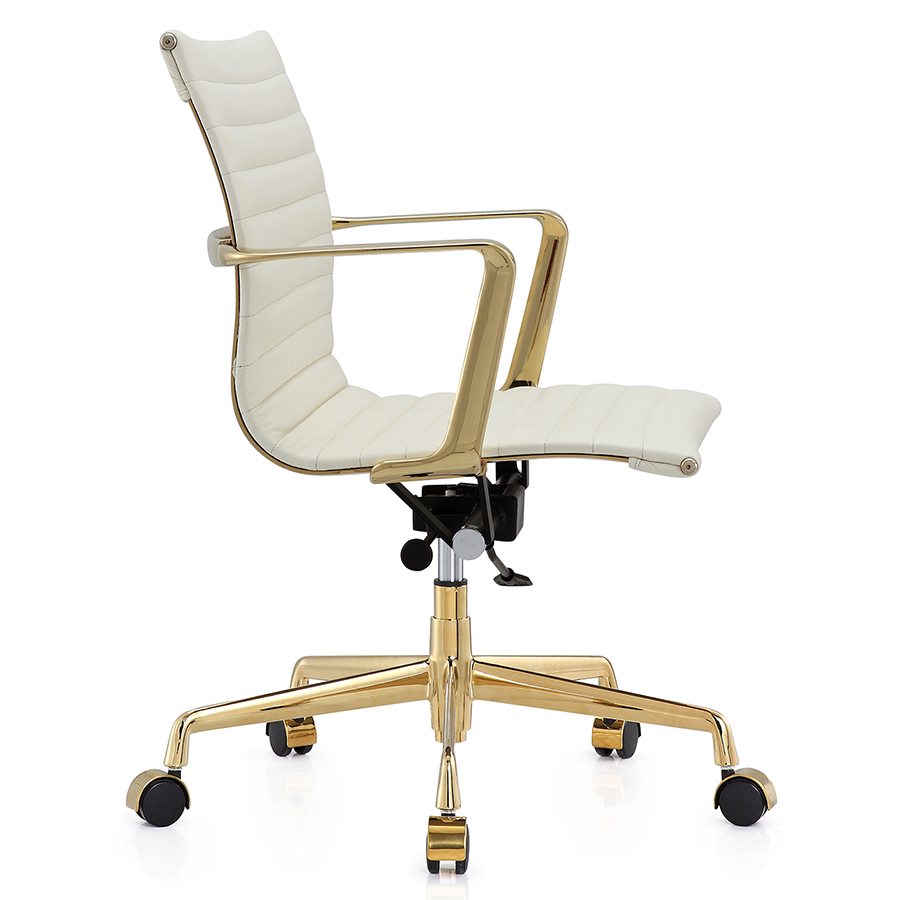 mid aluminum office chair white italian. Marquis White Leather + Gold Metal Contemporary Mid Back Office Chair Aluminum Italian