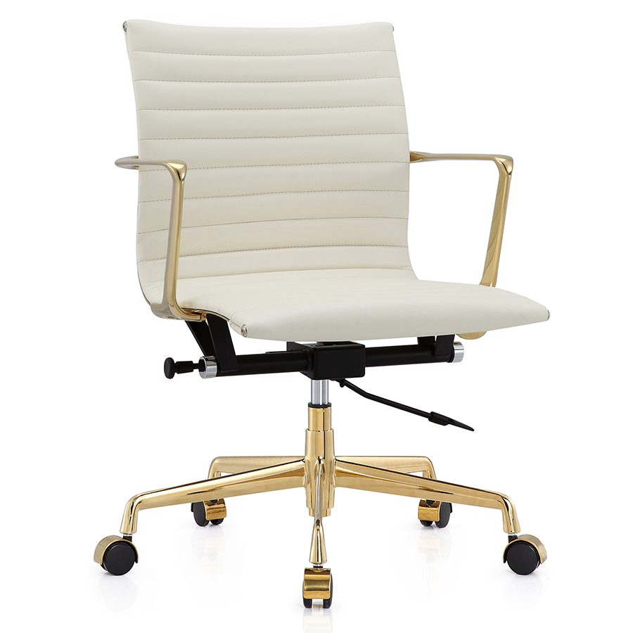 Elegant Call To Order · Marquis White Leather + Gold Metal Modern Office Chair