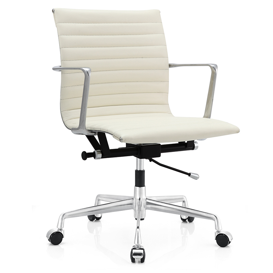 ... Marquis White Leather Modern Office Chair