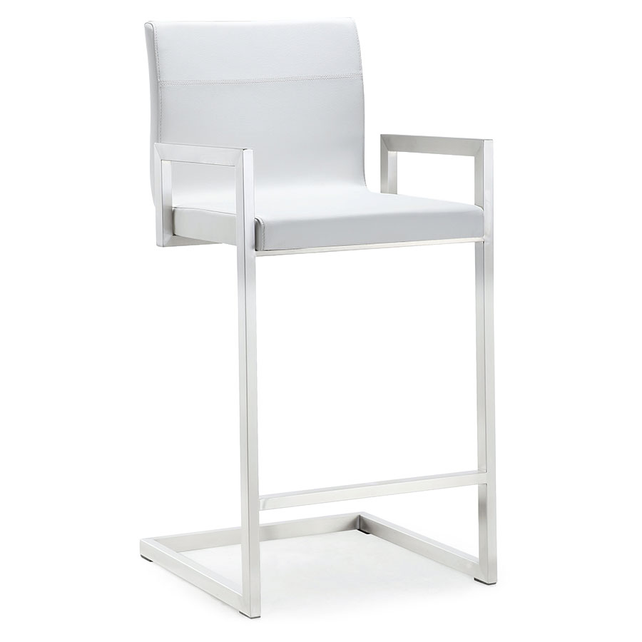 modern stools  marshall white counter stool  eurway - marshall modern white counter height stool