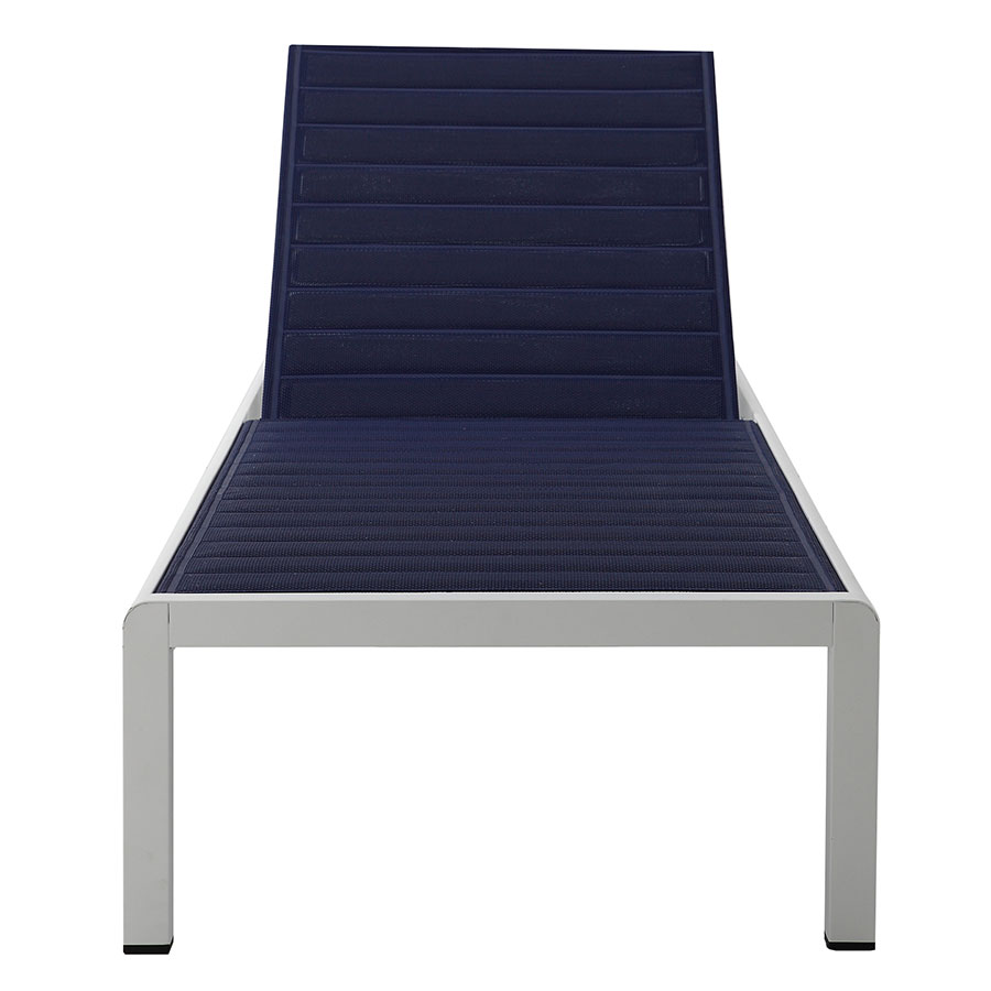 Modern outdoor chaise -  Marta Blue Ribbed Mesh Modern Outdoor Chaise
