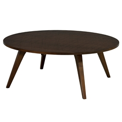 Martin Modern Round Etched Walnut Cocktail Table by Saloom