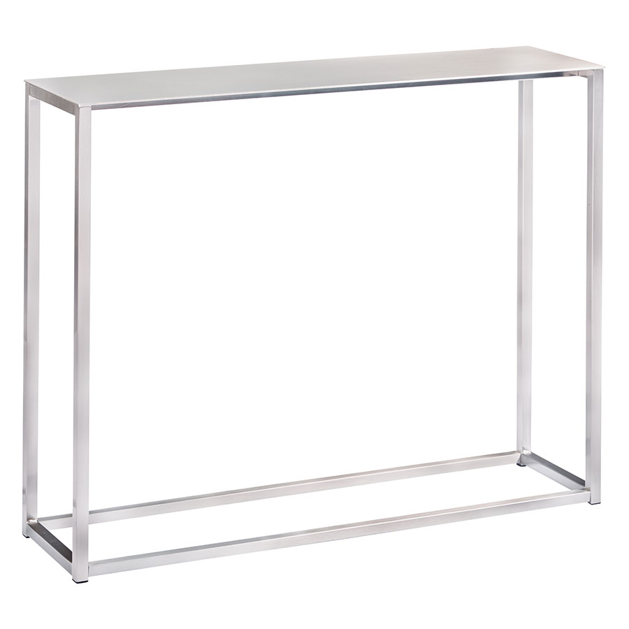 "Marty Brushed Aluminum 36"" Modern Console Detail"