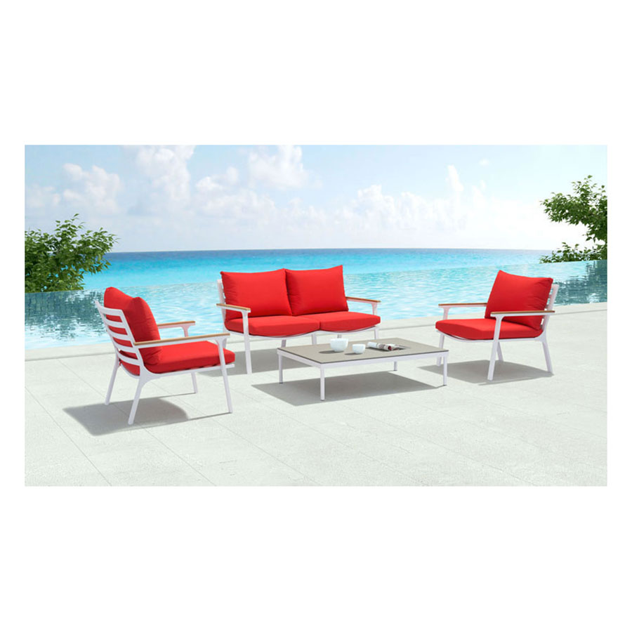 Modern outdoor lounge chair -  Lounge Chair Matthew Red Modern Outdoor Arm Chair