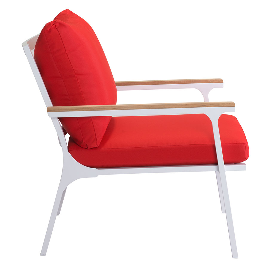Modern outdoor lounge chair -  Matthew White Red Teak Modern Outdoor Lounge Chair