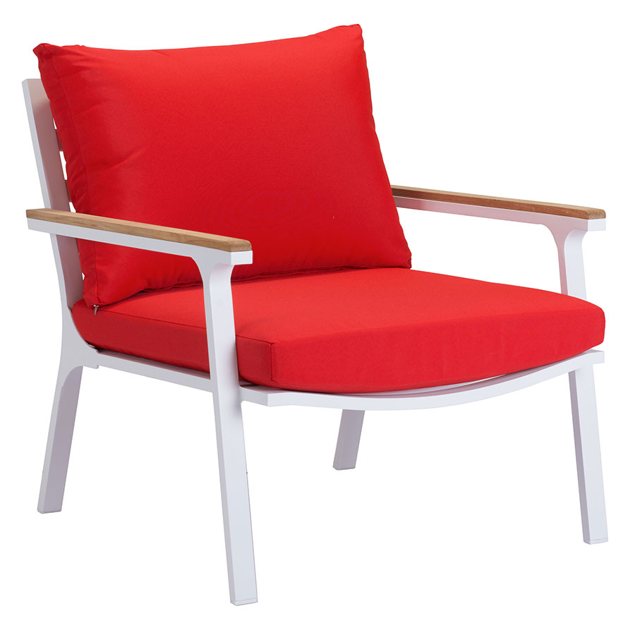Modern outdoor lounge chair - Matthew Red Modern Outdoor Lounge Chair