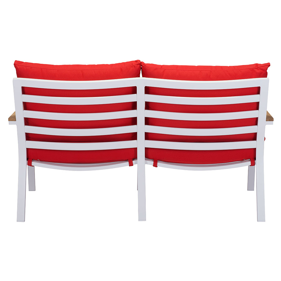 Matthew Red + White Contemporary Outdoor Sofa