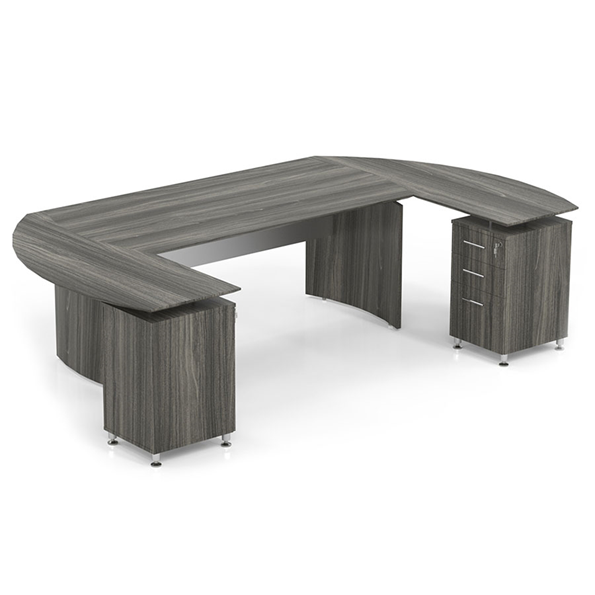 Maya Curved Modern Double File Desk