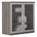 Maya Modern Gray Woodgrain Display Cabinet