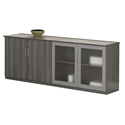 Maya Gray Woodgrain Modern Double Storage Cabinet