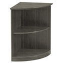 Maya Gray Woodgrain Modern Low Corner Bookcase