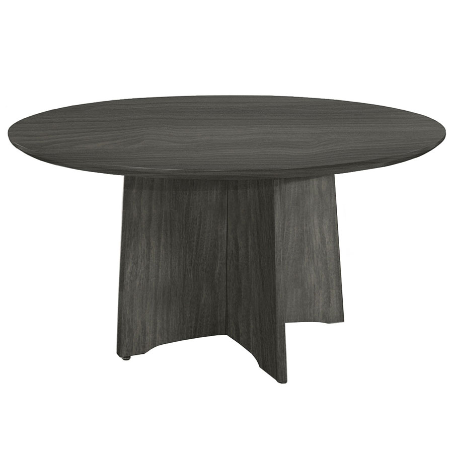 Maya Gray Woodgrain Modern Round Conference Table