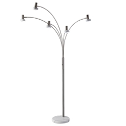 Mayra Brushed Steel 6 Head Modern LED Floor Lamp With White Marble Base And Shades