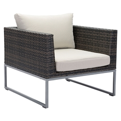 Meachem Brown Synthetic Weave + Tan Sunproof Fabric + Galvanized Aluminum Modern Outdoor Arm Chair