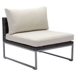 Meachem Galvanized Aluminum + Brown Weave + Tan Sunproof Fabric Modern Outdoor Chair
