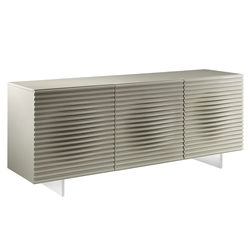 Meander Light Gray Lacquered + Brushed Steel Modern Buffet