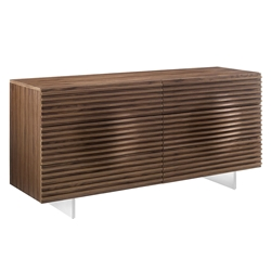 Meander Walnut Veneer + Steel Base Modern Double Dresser