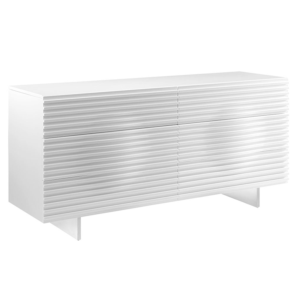 Meander White Lacquer + Stainless Steel Modern Double Dresser