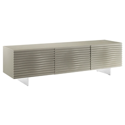 Meander Light Gray Lacquered + Brushed Steel Modern Entertainment Center