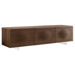 Meander Walnut Veneer + Stainless Steel Modern Entertainment Center
