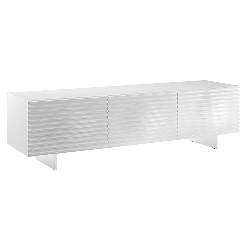 Meander White Lacquer + Stainless Steel Modern Entertainment Console