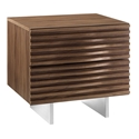 Meander Walnut Veneer + Stainless Steel Modern Nightstand + Side Table
