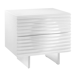 Meander White Lacquer + Stainless Steel Modern Nightstand + Side Table