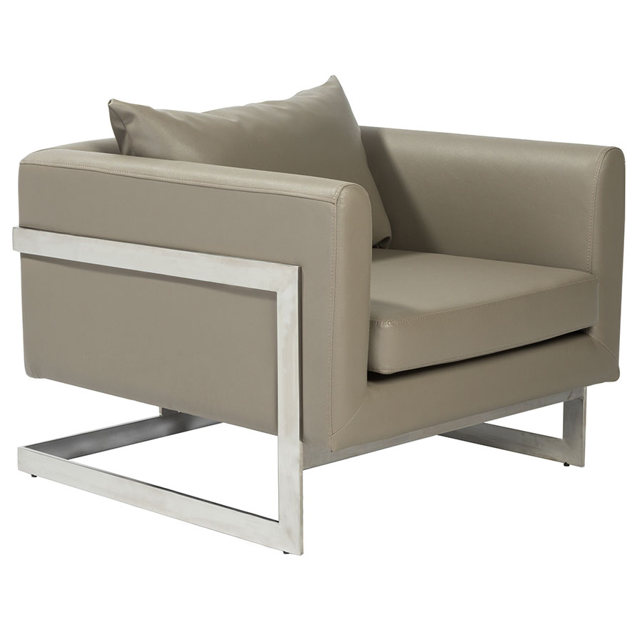 Modern guest chairs meghan taupe lounge chair eurway - Grijze lounge taupe ...