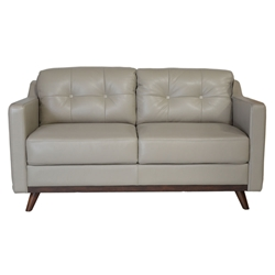 Melanie Modern Gray Top Grain Leather Loveseat