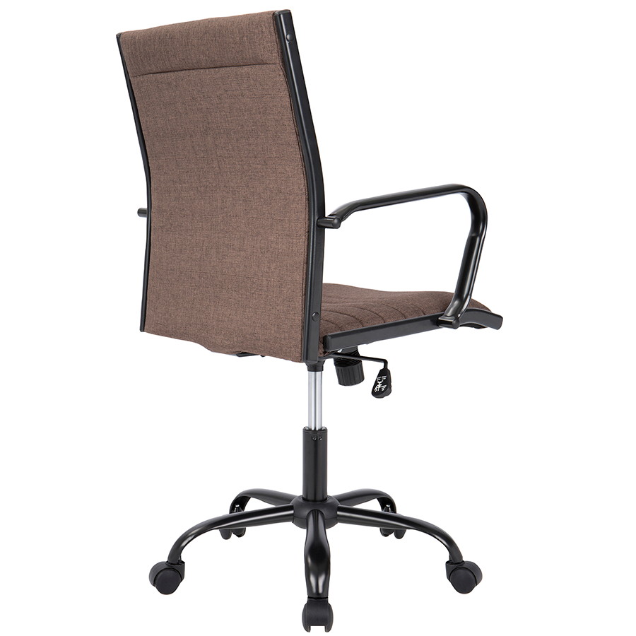 Mencken Brown Fabric + Black Metal Modern Office Chair