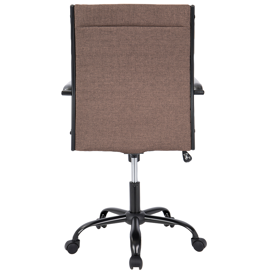 Mencken Brown Fabric + Black Metal Contemporary Office Chair