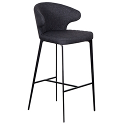 Menefer Modern Charcoal Fabric Bar Stool by Euro Style