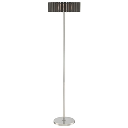 Menno Brushed Steel + Espresso Wood Modern Floor Lamp