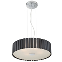 Menno Espresso Wood + Chrome Metal Modern Hanging Lamp
