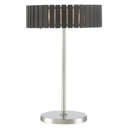 Menno Espresso Wood + Chrome Metal Modern Table Lamp