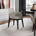 Modloft Mercier Modern Dining Arm Chair in Silver Birch Fabric and Seared Ash Wood - Room Setting