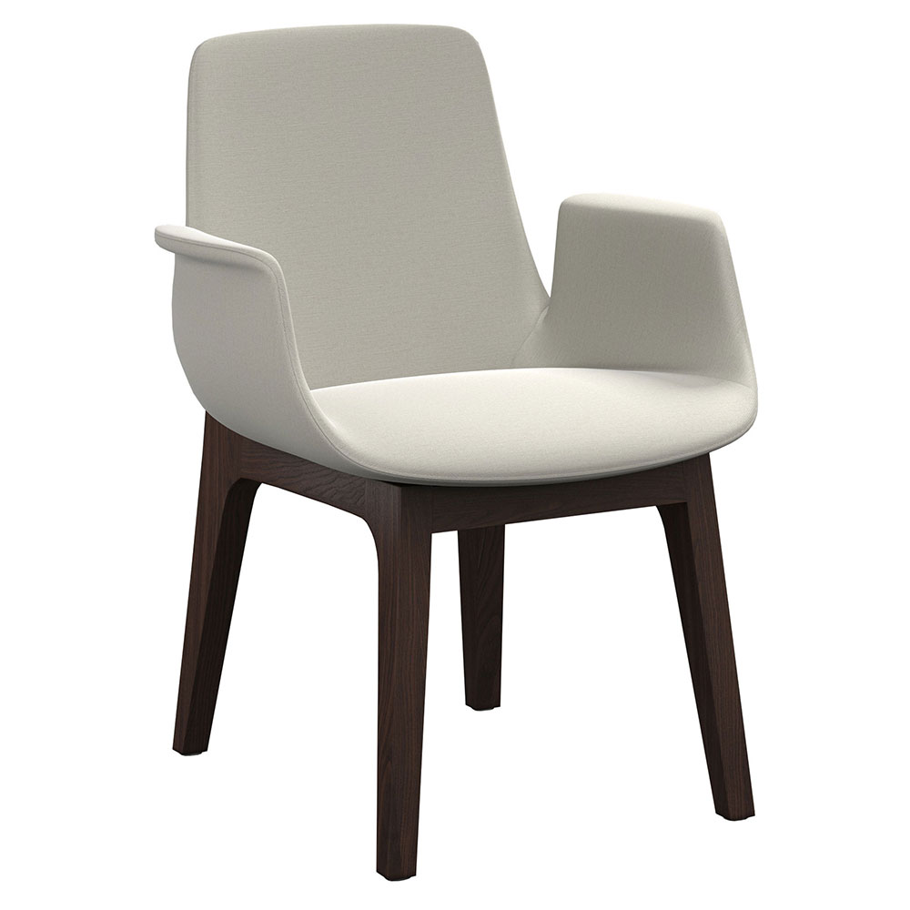 Modloft Mercier Modern Dining Arm Chair in Silver Birch Fabric and Seared Ash Wood