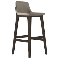 Modloft Mercer Modern Bar Stool in Castle Gray Faux Leather with Seared Ash Wood Base