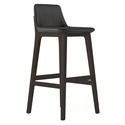 Modloft Mercer Modern Bar Stool in Graphite Faux Leather with Seared Ash Wood Base