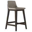 Modloft Mercer Modern Counter Stool in Castle Gray Faux Leather with Seared Ash Wood Base