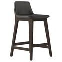 Modloft Mercer Modern Counter Stool in Graphite Faux Leather with Seared Ash Wood Base