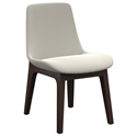 Modloft Mercer Modern Dining Side Chair in Silver Birch Fabric and Seared Ash Wood Base