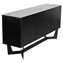 Mercury Modern Black + Ceramic Glass Sideboard