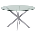 Merrick Modern Brushed Steel + Clear Glass Dining Table