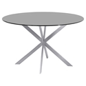 Merrick Modern Brushed Steel + Gray Glass Dining Table