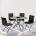 Merrick Contemporary Gray Steel + Gray Glass Dining Table