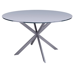Merrick Modern Gray Steel + Gray Glass Dining Table