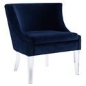 Metcalfe Modern Lounge Chair in Blue Velvet