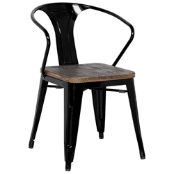 Metro Modern Black Cafe Arm Chair