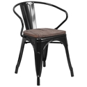 Metro Modern-Rustic Arm Chair in Black + Wood